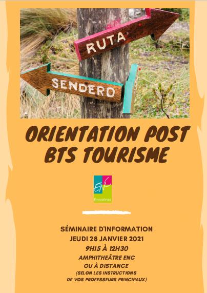 Affiche orientation post BTS Tourisme